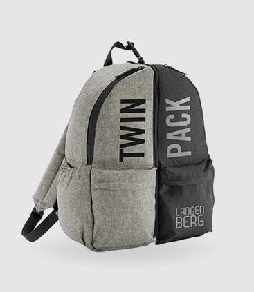 pracktischer rucksack individuell bedruckbar als twinpack rgp team werbemittel berlin
