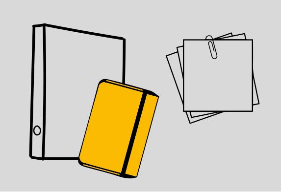 Grafik mit Notizbuch, Odrner und Notizzettel