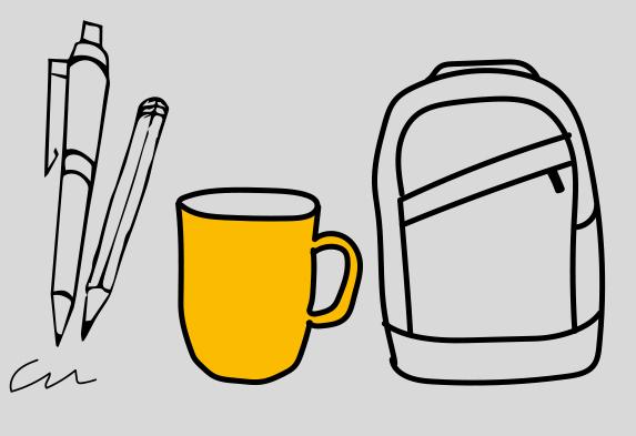 Grafik mit haptischen Werbemitteln: Stift, Tasse und Rucksack