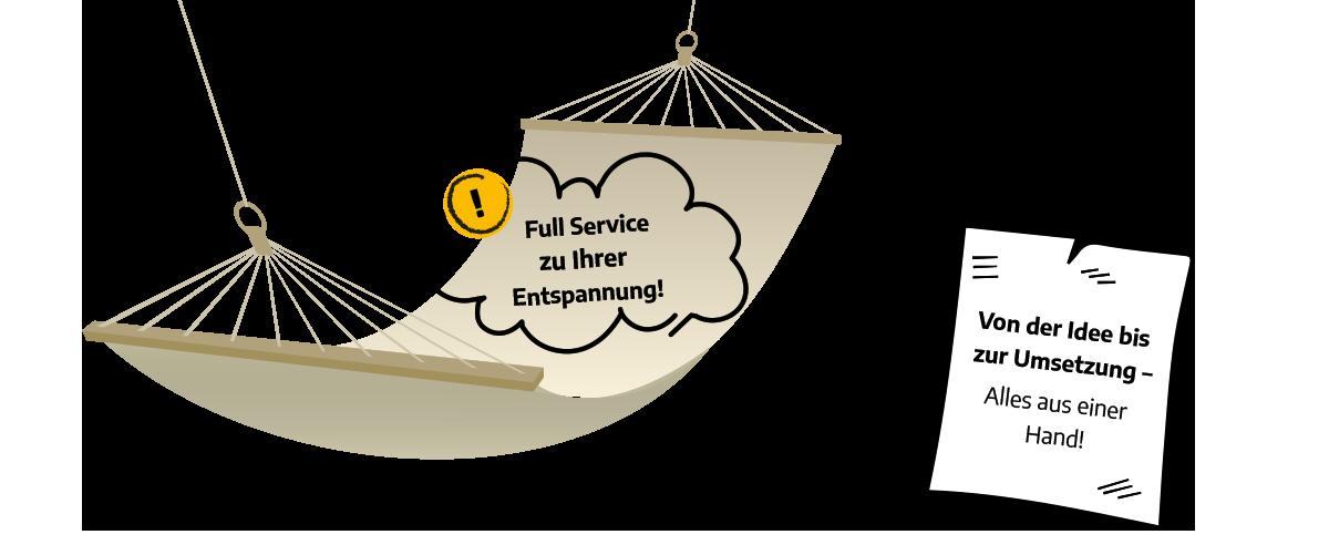 Grafik mit Hängematte als Symbol für Full Service zur Entspannung, Notizzettel auf dem steht: Von der Idee bis zur Umsetzung – alles aus einer Hand!