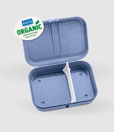 blaue Frühstücksdose mit Trennsteg aus recycelbarem Material