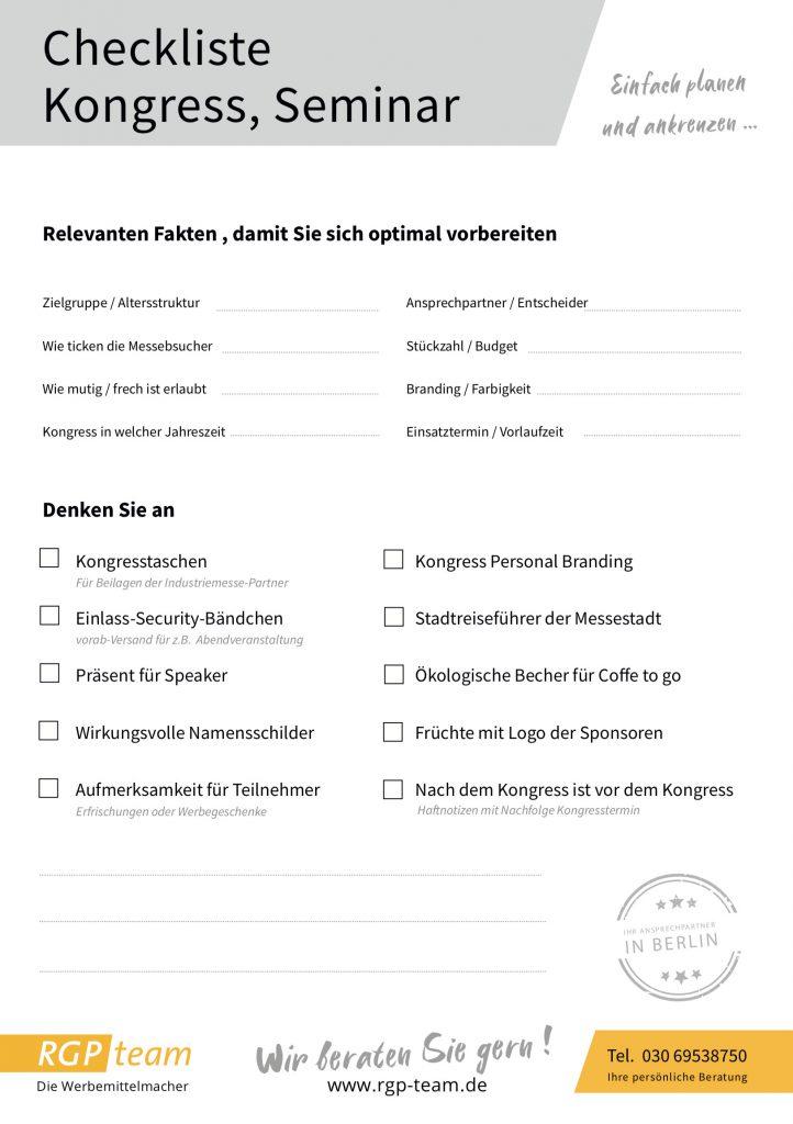 Checkliste für Kongresse und Seminare