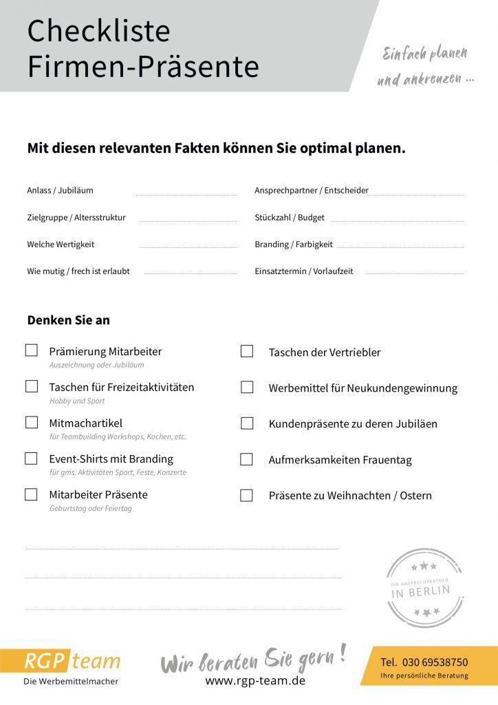 Checkliste für Firmenpräsente