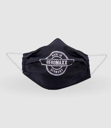 schwarze Gesichtsmaske mit Logo bedruckt