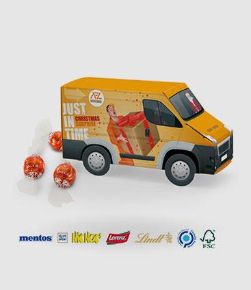 süßigkeiten transporter als werbemittel individuell bedruckbar rgp team berlin